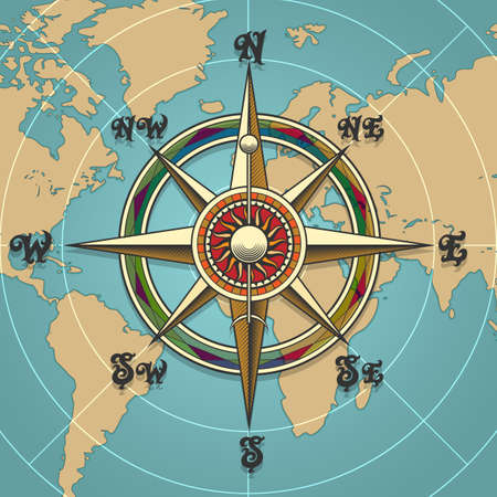 Classic vintage wind compass rose on map background drawn in retro style. Vector illustration. Vettoriali
