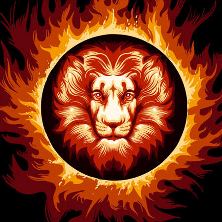 Lion head in Flame. Zodiac symbol Leo on fire background. Vector illustration.