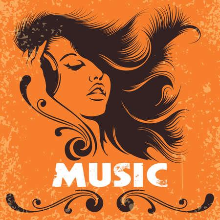 Hermosa chica DJ con auriculares. Cartel de la música en estilo retro grunge. Ilustración vectorial Foto de archivo - 92497585