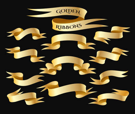 Set of golden ribbon isolated on black background. Golden Banner collection. Holiday stickers and design elements. Vector illustration.