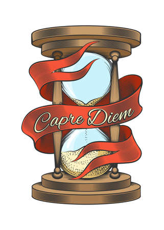 Hourglass with ribbon and wording Capre Diem means Seize the day. Colorful hand drawn vector illustration in engraving style isolated on white background.