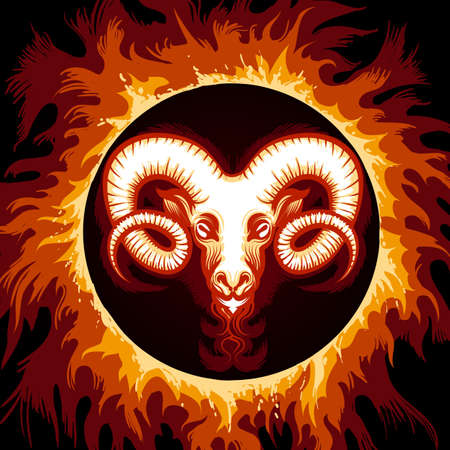 Ram head in Flame. Zodiac symbol Aries on fire background. Vector illustration. Vettoriali