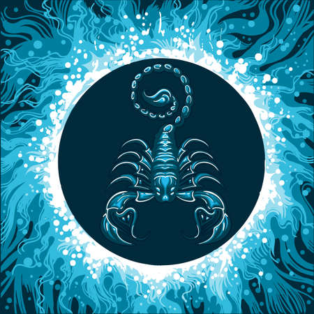 Scorpion in Water Circle. Zodiac symbol of Scorpio on water background. Vector illustration.