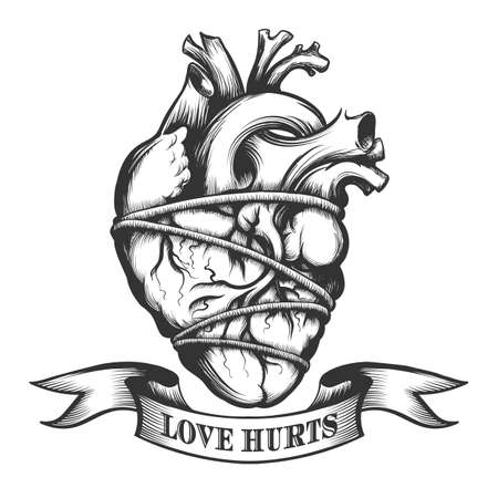 Human heart tied in rope with ribbon. Symbol of Love Hurts drawn in tattoo style. Vector illustration. Illustration