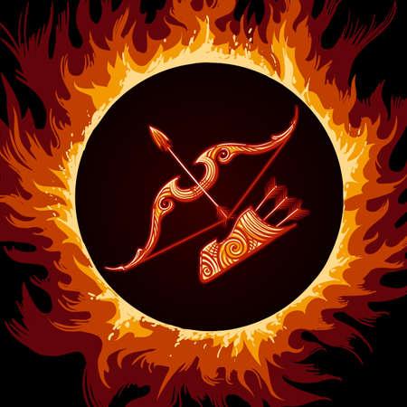 Arco y flechas en llamas. Símbolo del zodiaco Sagitario en el fondo de fuego. Ilustración vectorial