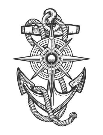 Anchor with ropes and Nautical vintage compass drawn in engraving style. Vector illustration. Ilustração