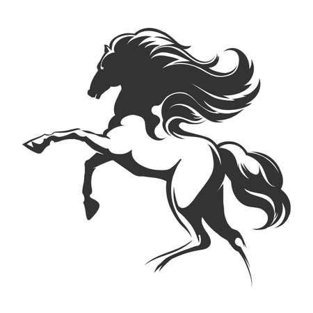走る馬のシルエット。エンブレムまたはロゴデザイン要素。ベクトルイラスト。
