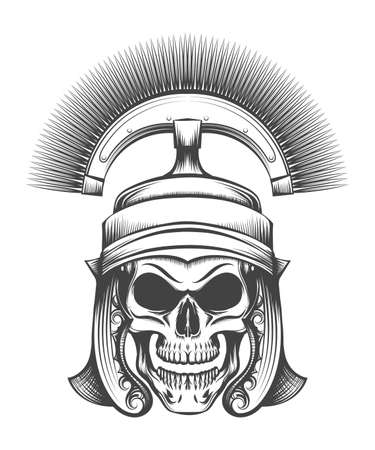 Human skull in ancient Centurion Helmet drawn in engraving style. Vector illustration