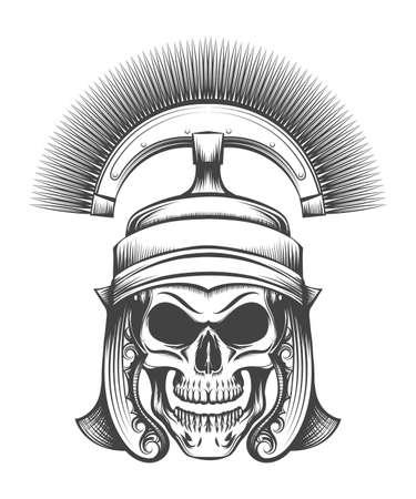 Human skull in ancient Centurion Helmet drawn in engraving style. Vector illustration