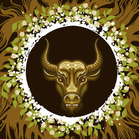 Bull head in Frame of leaves and roots. Zodiac symbol of Taurus on earth background. Vector illustration.