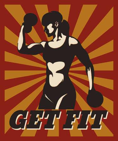 Cartaz tipográfico Sport Fitness em estilo retro. Mulher atletic de formação com letras motivacionais Get Fit. Design para banner, cartaz, ginásio, musculação ou clube de fitness.