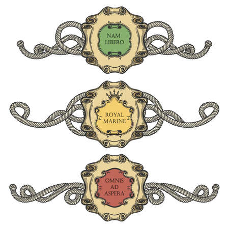 Set of Vintage Cartouche frames with marine ropes. Heraldic elements isolated on white. Vector illustration. Illustration