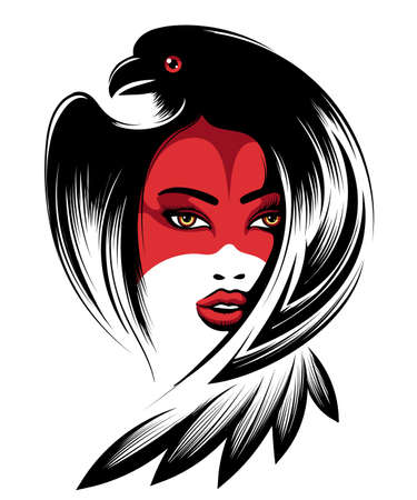 Portrait of a beautiful woman, masked hat crow. Vector illustration.
