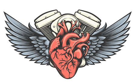 Motorcycle engine with wings tatoo label. Vector illustration. Illustration
