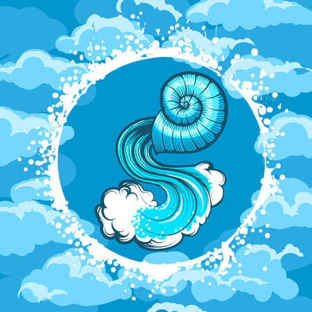 Seashell with water in Air Circle. Zodiac symbol of Aquarius on Air background. Vector illustration.