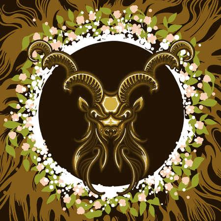 Steenbok hoofd in frame van bladeren en wortels. Dierenriemsymbool van Steenbok op aardeachtergrond. Vector illustratie