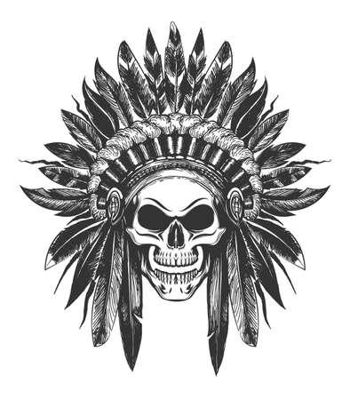 Crânio humano na capota de guerra indiana nativo americano desenhada no estilo de tatuagem. Ilustração vetorial