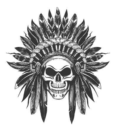 Human Skull in Native American Indian War Bonnet drawn in tattoo style. Vector illustration. Vettoriali
