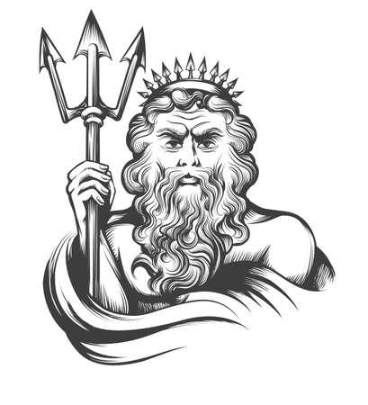 Neptunus houdt Trident getekend in gravure stijl geïsoleerd op een witte achtergrond. Vector illustratie