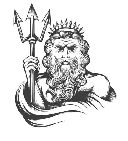 Neptune holds Trident drawn in engraving style isolated on white background. Vector illustration.