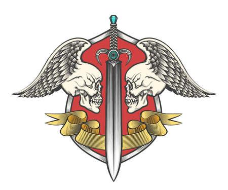 Paar gevleugelde schedels en zwaarden met lint op schild. Heraldiek wapenschild getekend in gravurestijl. Vector illustratie Stock Illustratie