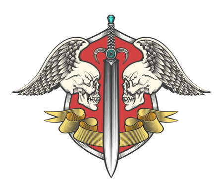 Pair winged skulls and swords with ribbon on shield. Heraldy coat of arms drawn in engraving style. Vector illustration.
