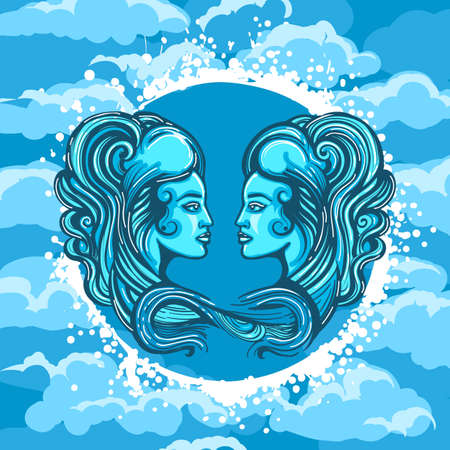Two Woman Faces in Air Circle. Zodiac symbol of Gemini on Air background. Vector illustration.