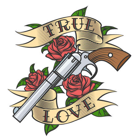 Tattoo revolver and rose flowers with love banner vector illustration. Ilustrace