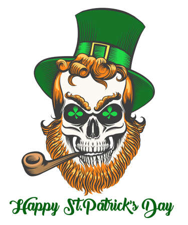 St.Patrick skull with smoking pipe and shamrock leaves in eye sockets vector illustration.