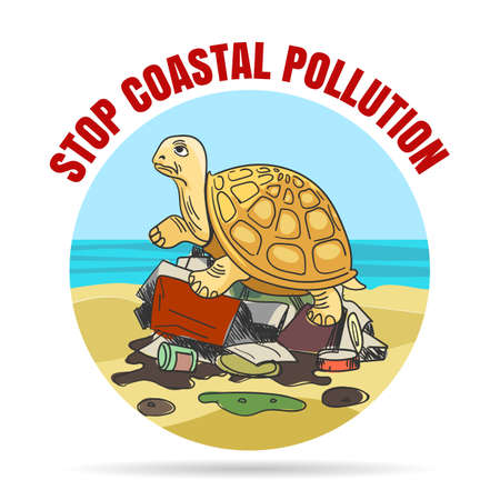 Stop coastal pollution emblem in cartoon style. Sad turtle on a pile of garbage vector illustration.