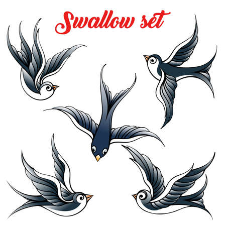 Set of the swallow emblem. Design elements for poster and tattoo vector illustration.