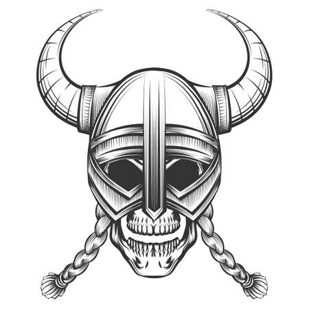 Human skull in Viking Helmet drawn in engraving style. Vector illustration