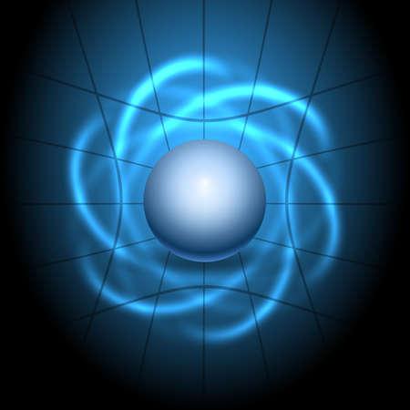 Glowing lights atom model. Vector Illustration.