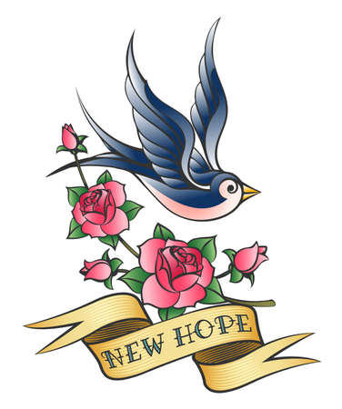 Tattoo of a swallow with banner and rose branch. Vector illustration.