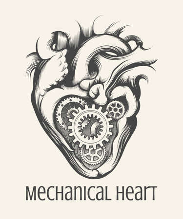 Gear mechanism inside human heart drawn in steam punk style on a white background. Vector illustration. 向量圖像