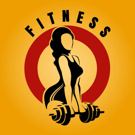 Gym or Fitness Emblem. Athletic Woman Holding Barbell Silhouette. Vector illustration.