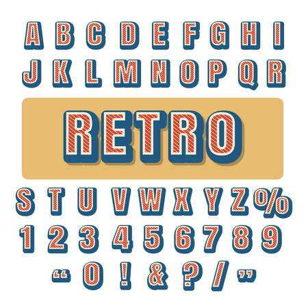 Retro typography alphabet. Caps letters and numbers. vector illustration.