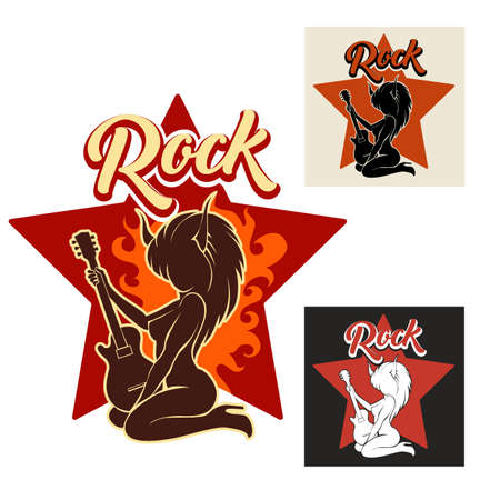 Silhouette of girl with horns playing electric guitar in flame against star. Rock music Emblem set. Vector illustration.