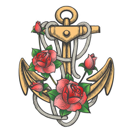 Hand drawn anchor with ropes and roses drawm in tattoo style. Vector illustration. Ilustração