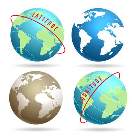Earth globe set with latitudes longitudes. Vector illustration.