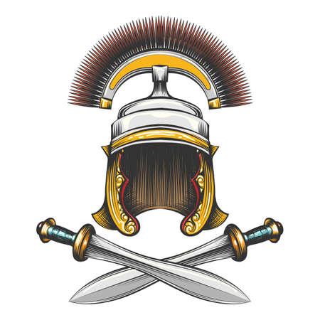 Elmo centurione dell'Impero Romano con spade incrociate disegnate in stile incisione. Illustrazione vettoriale Archivio Fotografico - 97934027