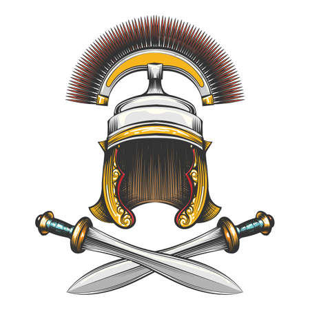 Roman Empire centurion helmet with crossed swords drawn in engraving style. Vector illustration. Çizim