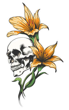 Skull with yellow orchids drawn tattoo style Vector illustration.
