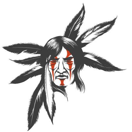 Hand getrokken illustratie van Indiaanse Indiase krijger. Stammen inheemse Amerikaan met geschilderd gezicht en veren. Vector illustratie