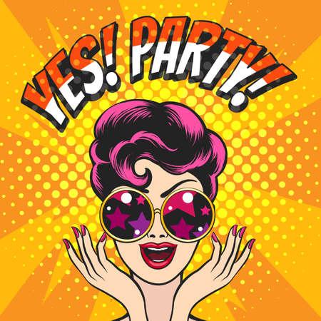 Chica joven en gafas y redacción Sí fiesta contra luces de discoteca fondo dibujado en estilo Pop art. Ilustración vectorial