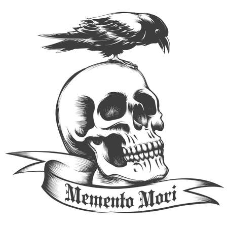 Hand drawn Crow sitting on human skull and ribbon with Latin wording Memento Mori.