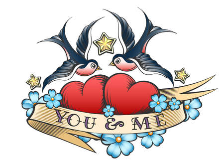 Retro tattoo style swallows and Two hearts. Hearts with flower and ribbon with wording You and Me. Vector illustration.