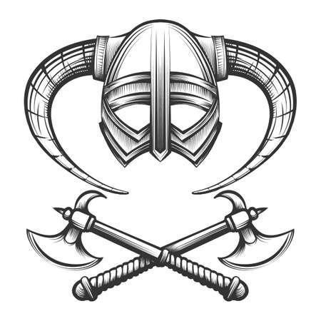 彫刻スタイルで描かれた角と交差バイキング軸とバイキングヘルメット。ベクトル図