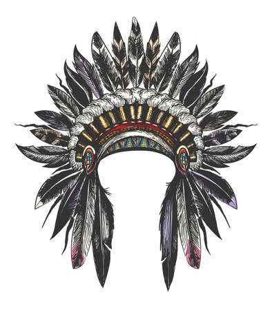 Hand Drawn Colorful Feathered War Bonnet. Vector illustration.