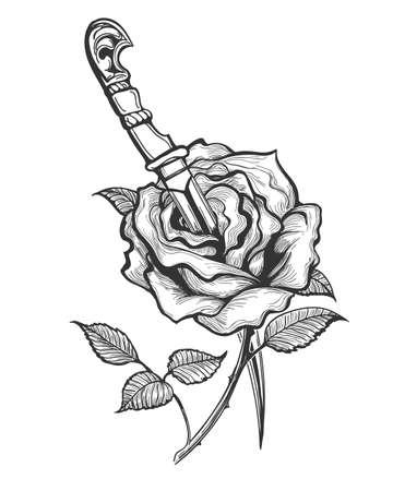 Tattoo of Rose Flower pierced by Dagger. Vector illustration.